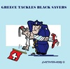Cartoon: Black Savers Greece (small) by cartoonharry tagged blacksavers,greece,police,banks,switserland,cartoons,cartoonists,cartoonharry,dutch,toonpool
