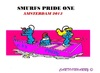 Cartoon: Gay Pride Amsterdam (small) by cartoonharry tagged gay,canal,parade,pride,amsterdam,holland,smurfs,toonpool