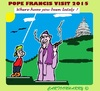 Cartoon: Pope Visit (small) by cartoonharry tagged pope,visit,usa,cuba,cigar