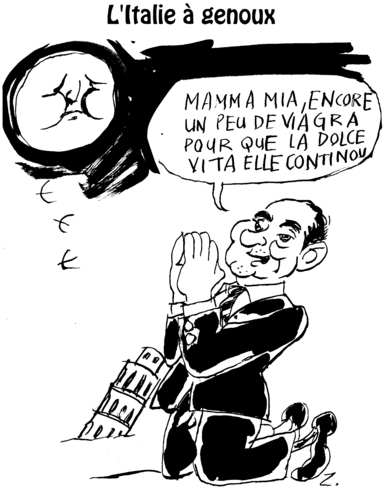 Cartoon: Italy is adoring now (medium) by Zombi tagged moon,berlusconi,jack,pot,italy,italie,bankruptcy