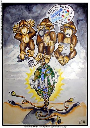Cartoon: The New Three Monkeys (medium) by joschoo tagged monkeys,three