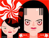 Cartoon: The White Stripes (small) by Hugh Jarse tagged pop,blues,rock,drummer,guitarist