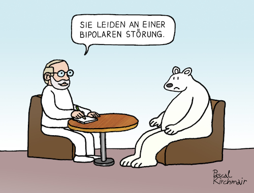 Cartoon: Bipolare Störung (medium) by Pascal Kirchmair tagged polar,ice,bear,ours,polaire,blanc,oso,blanco,orso,polare,bianco,urso,branco,eisbär,polarbär,bipolar,disorder,störung,psychiater,psychiatrist,psychiatre,gag,humour,umorismo,umore,spirito,humor,lustig,cartoon,caricature,karikatur,pascal,kirchmair,no,deal,illustration,drawing,zeichnung,political,politische,ilustracion,dibujo,desenho,ink,disegno,ilustracao,illustrazione,illustratie,dessin,de,presse,du,jour,art,of,the,day,tekening,teckning,cartum,vineta,comica,vignetta,caricatura,esprit,witz,polar,ice,bear,ours,polaire,blanc,oso,blanco,orso,polare,bianco,urso,branco,eisbär,polarbär,bipolar,disorder,störung,psychiater,psychiatrist,psychiatre,gag,humour,umorismo,umore,spirito,humor,lustig,cartoon,caricature,karikatur,pascal,kirchmair,no,deal,illustration,drawing,zeichnung,political,politische,ilustracion,dibujo,desenho,ink,disegno,ilustracao,illustrazione,illustratie,dessin,de,presse,du,jour,art,of,the,day,tekening,teckning,cartum,vineta,comica,vignetta,caricatura,esprit,witz