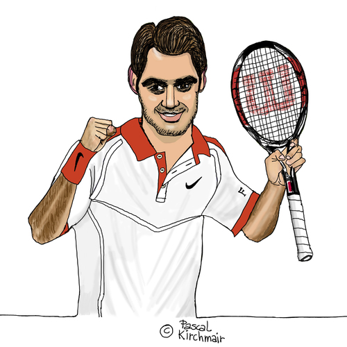 Cartoon: Roger Federer (medium) by Pascal Kirchmair tagged sabr,sneak,attack,by,roger,federer,caricature,karikatur,vignetta,cartoon,dessin,us,open,2015,tennis,new,york,flushing,meadows,grand,slam,turnier,sabr,sneak,attack,by,roger,federer,caricature,karikatur,vignetta,cartoon,dessin,us,open,2015,tennis,new,york,flushing,meadows,grand,slam,turnier