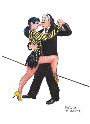 Cartoon: Sexy Tango Argentino (medium) by Pascal Kirchmair tagged illustration,zeichnung,dessin,appeal,hot,sexy,karikatur,caricature,cartoon,dibujo,aires,buenos,argentino,tango