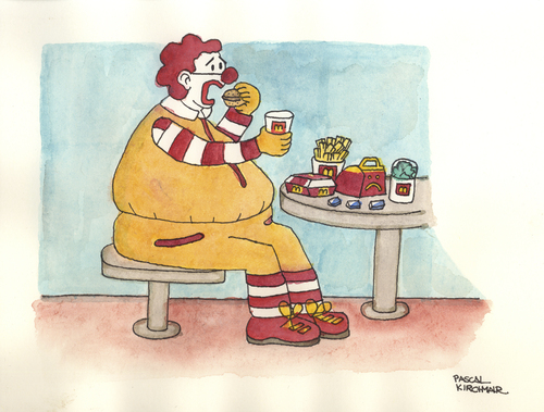 Cartoon: The real Ronald McDonald (medium) by Pascal Kirchmair tagged caricature,obese,cartoon,obesity,donald,mc,mac,ronald,fettleibigkeit,karikatur