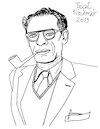 Cartoon: Arthur Miller (small) by Pascal Kirchmair tagged arthur,miller,new,york,city,illustration,drawing,zeichnung,pascal,kirchmair,cartoon,caricature,karikatur,ilustracion,dibujo,desenho,ink,disegno,ilustracao,illustrazione,illustratie,dessin,de,presse,du,jour,art,of,the,day,tekening,teckning,cartum,vineta,comica,vignetta,caricatura,portrait,retrato,ritratto,portret,kunst,usa,connecticut,roxbury,schriftsteller,author,writer,playwright,autor,autore,auteur,dramatiker,misfits,tod,eines,handlungsreisenden,death,salesman,brooklyn,marilyn,monroe