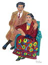 Cartoon: Frida Kahlo and Diego Rivera (small) by Pascal Kirchmair tagged frida,kahlo,diego,rivera,cartoon,painting,zeichnung,desenho,caricature,illustration,ilustracion,pascal,kirchmair,portrait,retrato,ritratto,drawing,dibujo,disegno,ilustracao,illustrazione,illustratie,dessin,du,jour,art,of,the,day,tekening,teckning,cartum,vineta,comica,vignetta,caricatura,karikatur,aquarell,watercolour,watercolor,ink,cuadro,quadro,immagine,image,bild,imagen,imagem,pintura,pittura,arte,dipinto