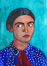 Cartoon: Frida Kahlo de Rivera (small) by Pascal Kirchmair tagged frida kahlo cartoon painting zeichnung desenho caricature illustration ilustracion pascal kirchmair portrait retrato ritratto drawing dibujo disegno ilustracao illustrazione illustratie dessin du jour art of the day tekening teckning cartum vineta comica vignetta caricatura karikatur aquarell watercolour watercolor ink cuadro quadro immagine image bild imagen imagem pintura pittura arte