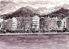 Cartoon: Innsbruck - Stadtteil Mariahilf (small) by Pascal Kirchmair tagged dibuix,illustration,drawing,zeichnung,pascal,kirchmair,cartoon,caricature,karikatur,ilustracion,dibujo,desenho,ink,disegno,ilustracao,illustrazione,illustratie,dessin,du,jour,art,of,the,day,tekening,teckning,aquarelle,watercolor,watercolour,acquarello,acuarela,aguarela,aquarela,innsbruck,mariahilf,tirol,tyrol,marktplatz,berge,landschaft,nordkette,montagnes,montagne,montanas,mountains,austria,autriche,österreich,alpen,alps,alpi,alpes