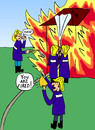 Cartoon: The fired firefighter (small) by Pascal Kirchmair tagged the fired firefighter threw oil on fire der gefeuerte feuerwehrmann goß öl ins feuer jeter de huile sur le feu gettare benzina sul fuoco pompiers
