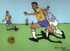 Cartoon: Pele (small) by Pascal Kirchmair tagged edison arantes do nascimento santos new york cosmos selecao brasil brasilien bresil brazil pele