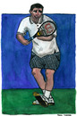 Cartoon: Pete Sampras (small) by Pascal Kirchmair tagged pistol pete sampras tennis grand slam wimbledon australian open us roland garros paris player atp champion championship point matchball