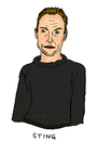 Cartoon: Sting (small) by Pascal Kirchmair tagged band singer sänger pop songwriter gordon sumner the police sting karikatur caricature