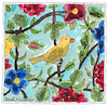 Cartoon: Yellow bird with flowers (small) by Pascal Kirchmair tagged yellow,bird,with,flowers,and,leaves,after,tilework,in,shiraz,iran,drawing,zeichnung,illustration,ilustracao,ilustracion,illustrazione,illustratie,desenho,dessin,dibujo