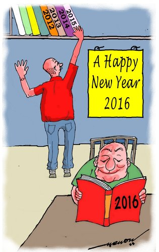 Cartoon: A Happy new Year 2016 to all (medium) by kar2nist tagged greetings,2016,new,year