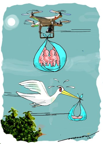 Cartoon: Drones Club (medium) by kar2nist tagged drone,stork,babies,delivery,technology