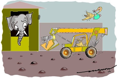 Cartoon: elephants delivery (medium) by kar2nist tagged elephant,delivery,stork