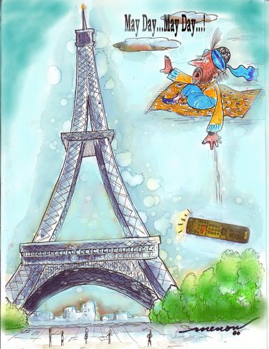 Cartoon: May Day...May Day...! (medium) by kar2nist tagged day,may,carpet,disaster,911,flying,tower,eiffel