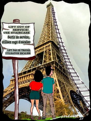 Cartoon: Parisian dilemma (medium) by kar2nist tagged eiffel,travel,tourists,sightseeing
