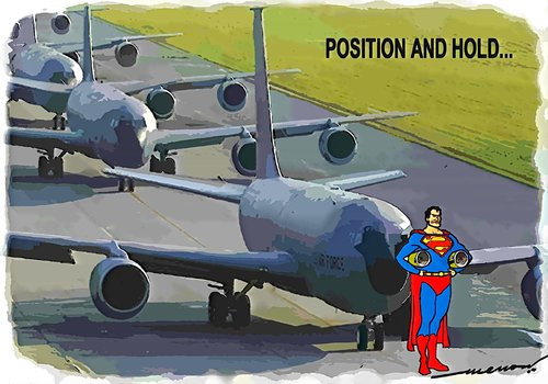 Cartoon: position and hold (medium) by kar2nist tagged aircraft,tarmac,superman,at