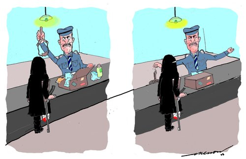 Cartoon: tight security (medium) by kar2nist tagged security,terrorists,checking,airports
