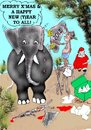 Cartoon: Happy new Year (small) by kar2nist tagged new,year,chrismas,santa,claus,elephants,gifts