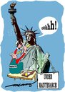 Cartoon: Taking Liberty (small) by kar2nist tagged liberty,statue,shave,underarm,barber