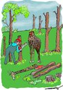 Cartoon: The Unkindest Cut (small) by kar2nist tagged trees,felling,powersaw,giraffe,logs