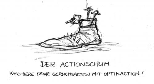 Cartoon: Der Actionschuh (medium) by Bülow tagged action,schuh,shoe