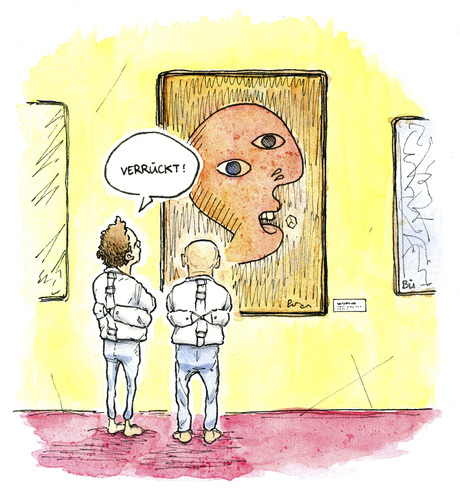 Cartoon: Neulich in der Gemäldegalerie (medium) by Bülow tagged kunst,ausstellung,galerie,gemälde,psychiatrie,zwangsjacke,illustration,illustrationen,galerie,museum,ausstellung,bild,gemälde,kunst,psychiatrie,zwangsjacke,verrückt,patient