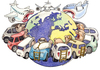 Cartoon: eat the world (small) by Niessen tagged world eat hunger cars planes welt essen autos flugzeuge mondo fame mangiare macchine