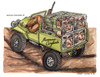 Cartoon: Maremma Cinghiala (small) by Niessen tagged hunter,dog,cramped,evil,cage,offroad