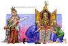 Cartoon: San Peccato (small) by Niessen tagged protestant,saint,sword,pray,merkel,protestante,cattolico,reliquia,santo,scrigno,pregare,peccatore,evangelisch,katholisch,ritter,schwert,anbeten,heilig