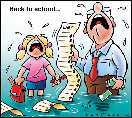 Cartoon: Back to School (medium) by Carayboo tagged back,school,year,vacation,work,september,fall,price,list,books,money,cry,water