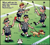 Cartoon: Fifa World cup 2010 (small) by Carayboo tagged fifa,world,cup,2010,ref,referee,soccer,sport,ball,blind,dog,football,red