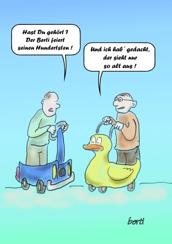 Cartoon: Der Hundertste (medium) by berti tagged 100,jubiläum,cartoon,alt