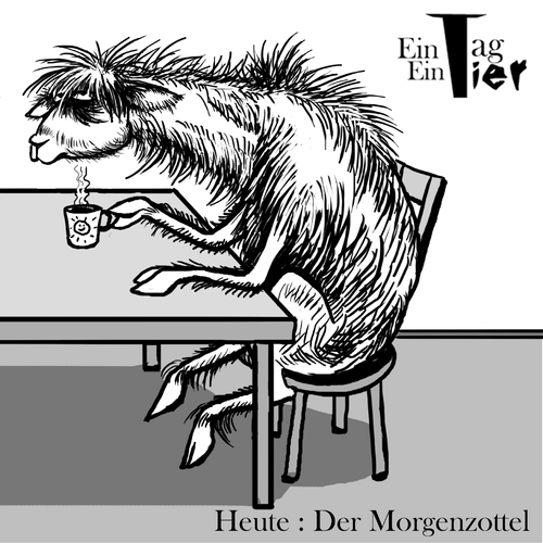 Cartoon: Der Morgenzottel (medium) by Mistviech tagged tiere,natur,ein,tag,tier,zotteltier,morgenmuffel,kaffee,alpaka,lama