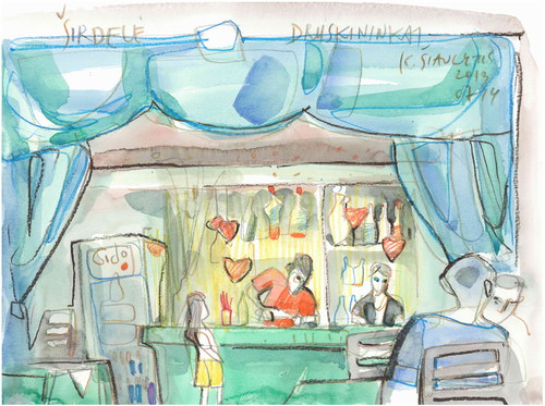 Cartoon: Artists Cafe in Druskininkai (medium) by Kestutis tagged artist,kestutis,lithuania,watercolor,sketch