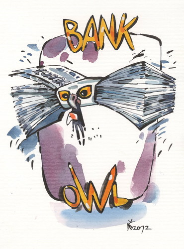 Cartoon: BANK OWL (medium) by Kestutis tagged bank,owl,money,banknote
