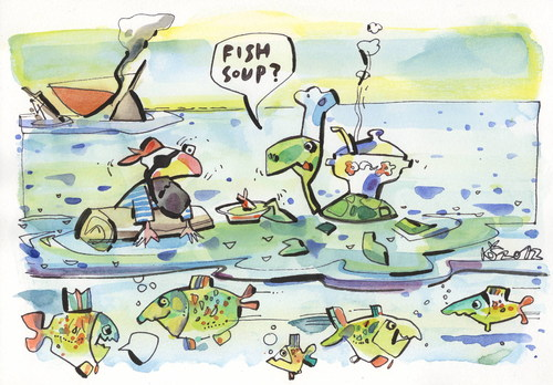 Cartoon: FISH SOUP (medium) by Kestutis tagged ship,sailboat,sea,turtle,pirate,adventure,chef,food,happening,cook,fish,soup,ocean,animal