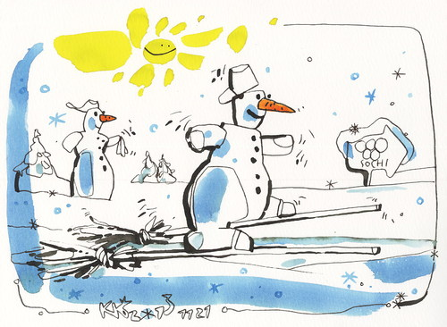 Cartoon: Good luck! (medium) by Kestutis tagged good,luck,winter,sports,skiing,sochi,2014,olympic,games,kestutis,lithuania,snowman