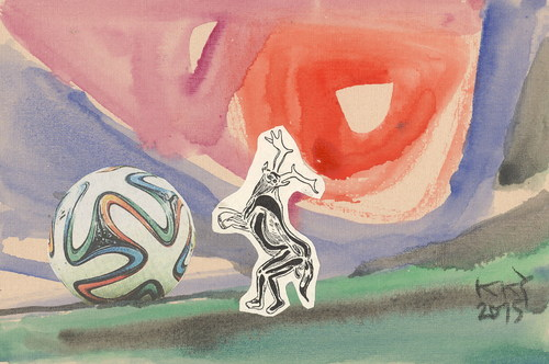 Cartoon: Good morning! (medium) by Kestutis tagged football,corruption,soccer,skandal,lithuania,kestutis,fifa,kunst,art,postcard,dada,good,morning