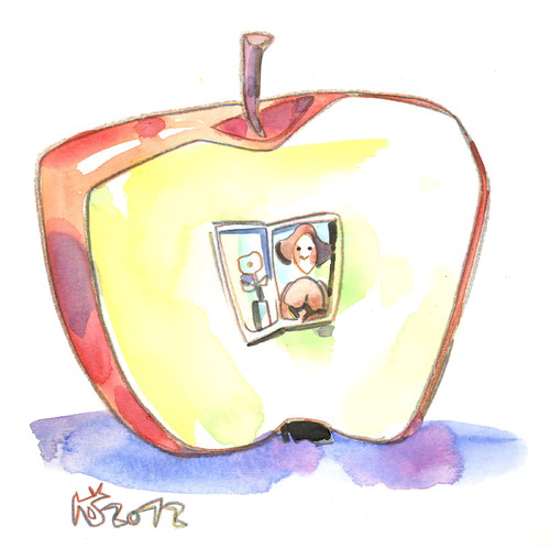 Cartoon: Montmartre apple (medium) by Kestutis tagged apple,art,kunst,lithuania,siaulytis,kestutis,künstler,woman,man,montmartre