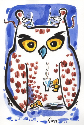 Cartoon: NIGHT OWL - COFFEE OWL (medium) by Kestutis tagged peace,frieden,coffee,eule,owl,maus,night,happy,new,year