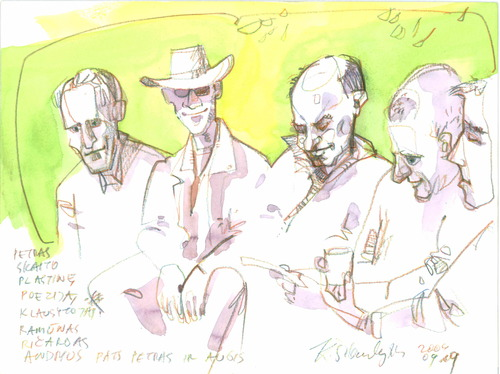 Cartoon: PAINTERS IN DRUSKININKAI (medium) by Kestutis tagged summer,druskininkai,lithuania,kestutis,watercolor,sketch,river,artist,painter,performs