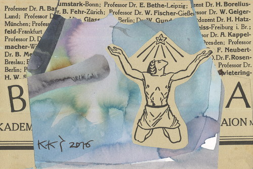 Cartoon: Paper archeology (medium) by Kestutis tagged dada,postcard,liner,book,newspaper,magazine,communication,paper,archeology,kestutis,lithuania