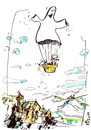 Cartoon: AERONAUTICS (small) by Kestutis tagged flight balloonist castle aeronautics ghost happening adventure