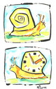Cartoon: MECHANICAL CLOCK (small) by Kestutis tagged clock,mechanics,spring,spiral,snail,schnecke,tier,animal,mystery,confidence