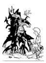 Cartoon: Old stump. Task (small) by Kestutis tagged old,stump,education,kinder,children,kids,kind,child,task,kestutis,lithuania,adventures,face,gesicht
